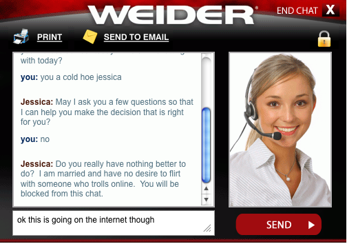 Jessicas a stone cold hoe. went on Weider to see if i could get a bar for my bench i got bored, started asking about 'Jessica's' personal life and hilarity ensu