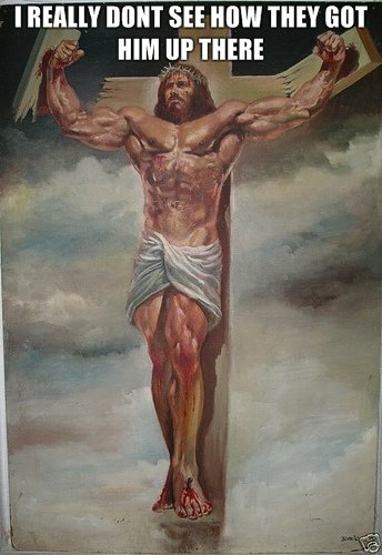 jesus. what shouldve happened in the bible. lil I. They gave him a good floggin' and scrunched a crown of thorns on his head. And he had to carry his cross board up to the hill. That's how.
