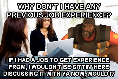 Job Interviews. . DISCUSSING IT WITH YA tidily, vvy., ting, L% rif. white guy applies: sorry we cant hire you without previous work experience black migrant applies: sure we can hire you unskilled and pay you less than minimum w