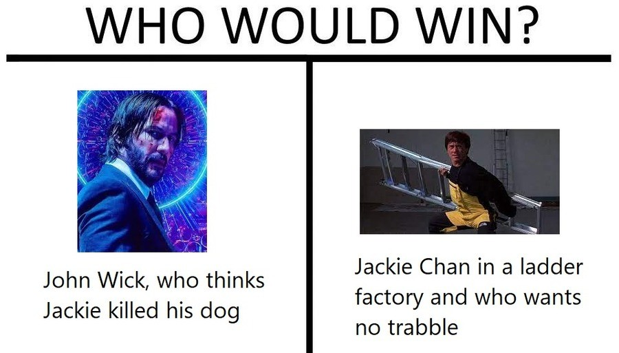 John Wick vs Jackie Chan. .. John would realize that such a guy cannot possibly harm a dog