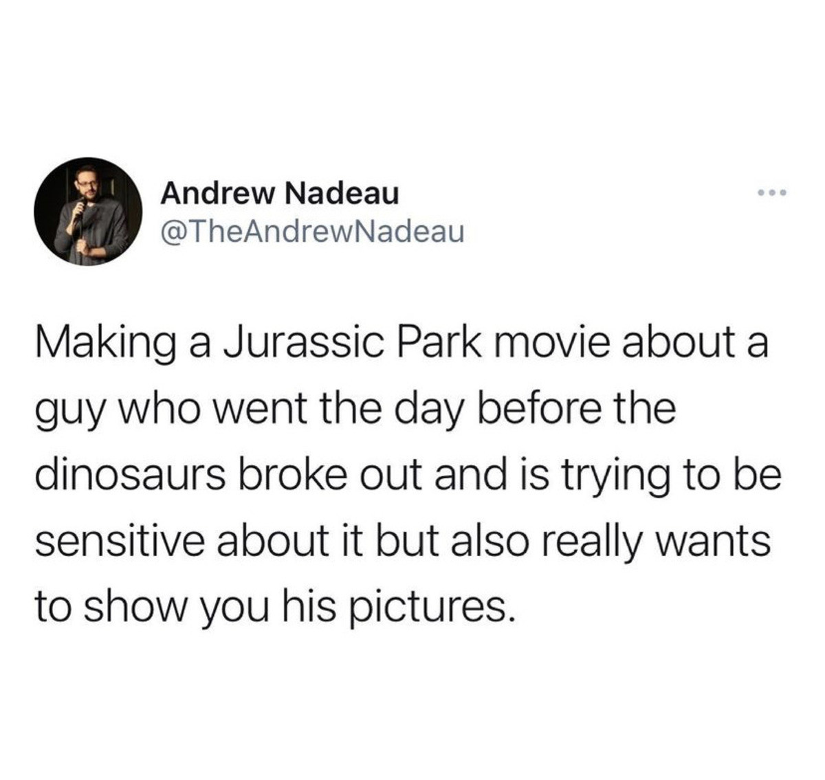 Jurassic Prequel. .. Make a Jurassic Park movie where the park operates perfectly normally without any disaster but who also does experiments on human DNA and breeds a giant human w