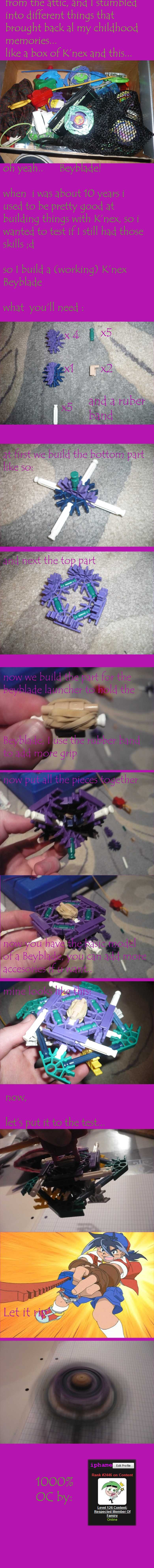 Knex Beyblade READ DESCRIPTION. EDIT: OMG top five already thx guys, lots of love, if you guys want i'll try to make more (usefull) K'nex things ^^, ->tell m