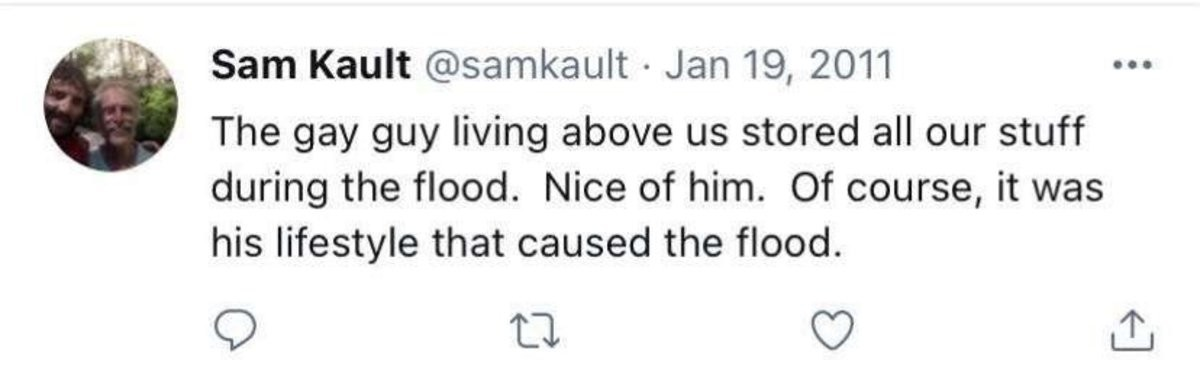 knowledgeable probable Flamingo. .. It's well documented that Christians will often cause floods by blocking rivers with haybales and then blame the gays. For more information look up Christian Ba