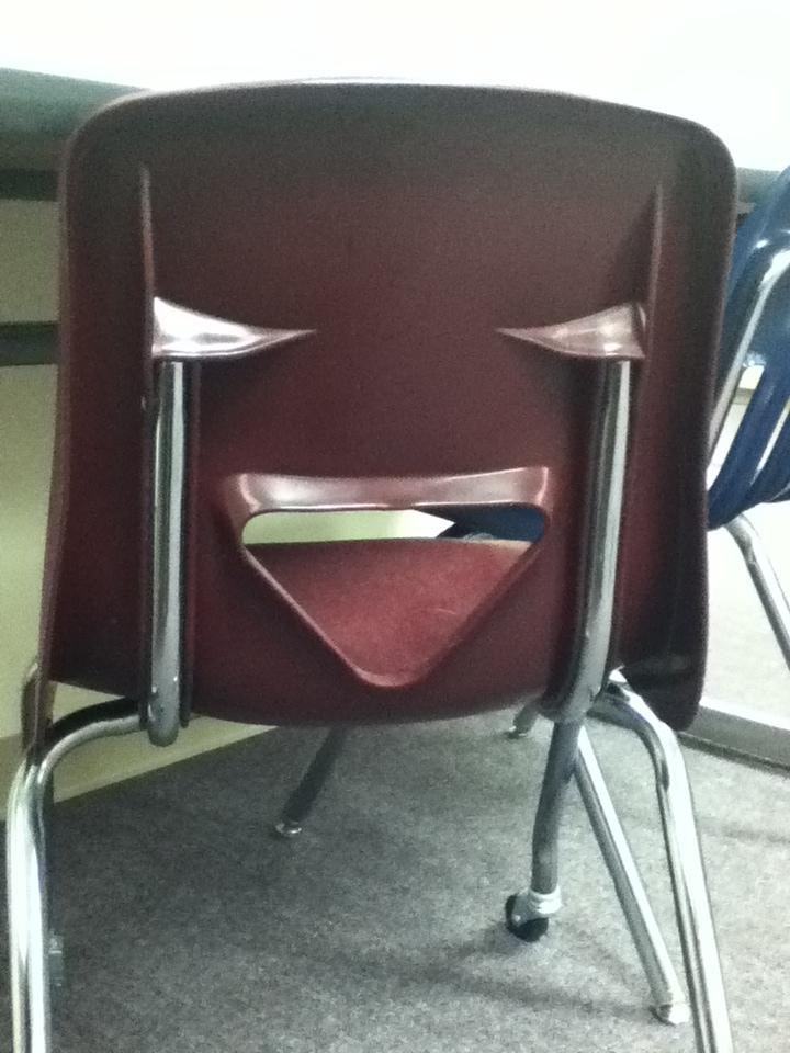 Laughing Chair. he's laughing so hard he's crying if you got to wylie high school, you've probably seen these chairs.. Laughing chair mocks your fat ass.