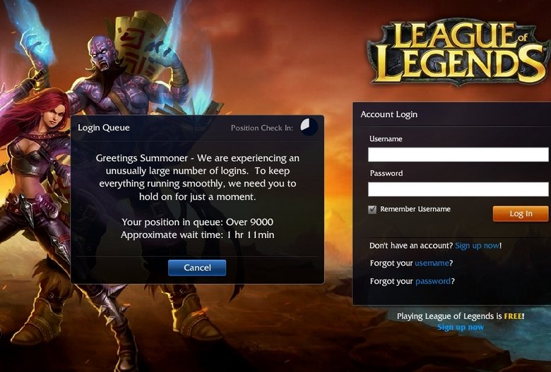 League Of Legends . ITS OVER.............. Accou Login Username Greetings Summoner - We are experiencing an - ls, unusually large number of logins, To keep ever
