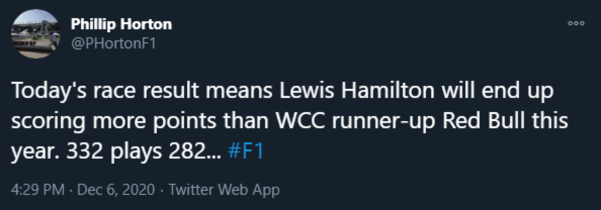 Lewis Hamilton clinches the Constructors' Title...by himself. join list: Motorsports (190 subs)Mention History.. that's kind of funny since he wasn't even racing