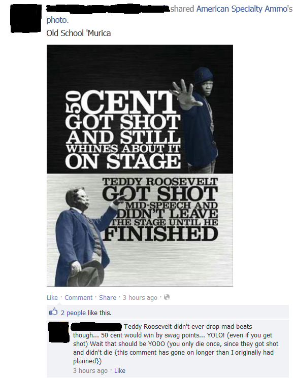 Losing faith. in humanity. Saw on my fb feed, I don't want to live on this planet anymore... I think 50 Cent was shot more times though. Just sayin'.