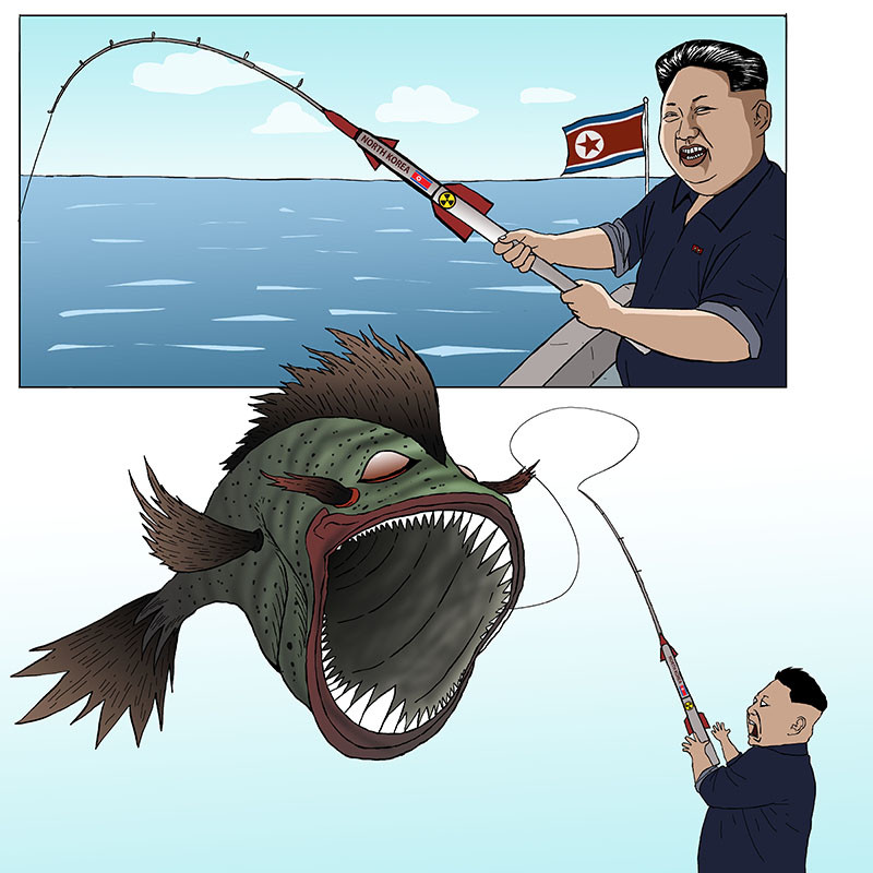 love fishing. North Korea is crazy for developing the intercontinental ballistic missile(ICBM) in the name of a space development. When is Kim Jong Un going to