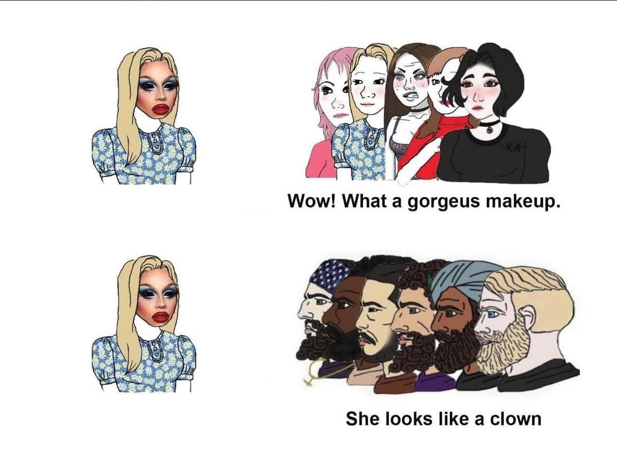 """luxurious long-lasting Pangolins. .. Should be: Women: """"She looks like a clown"""" Men: """"She's wearing makeup?"""""""