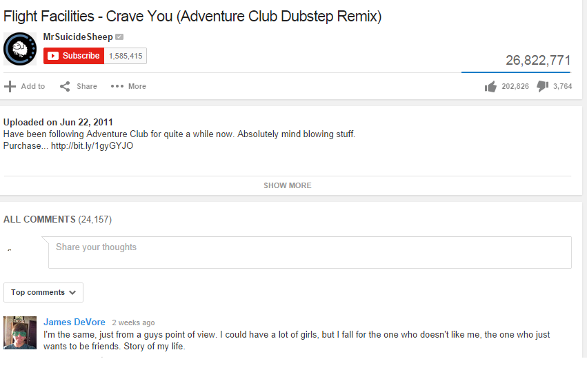 Made me cringe. . Flight Facilities - Crave You (Adventure Club Dubstep Remix) Mrsuicidesheep 26, 822, 771 Adam cc: Share ... More d snooze fl 3, 764 Uploaded o