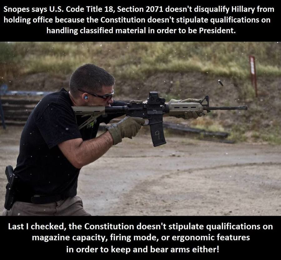 Mah Sekkind Amendmint!. . Snopes says U. S. Code Title 18, Section 2071 doesn' t disqualify Hillary from holding office because the Constitution doesn' t stipul