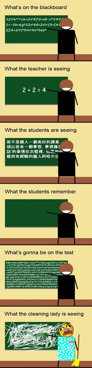 "Math. Exactaly how math is. Not mine I thought it was funny. What' s on the blackboard Cgi What the teacher is seeing What the students are seeing iii"" . i% pra"