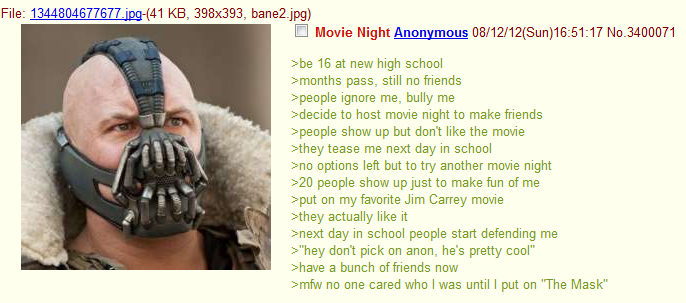 Movie ht. . Movie Night Anonymous (/ 12/ 12( Sun) 16: / we 15 at new high school pass. still friends ppeople ignore me- bully me suecide to host meme night to m