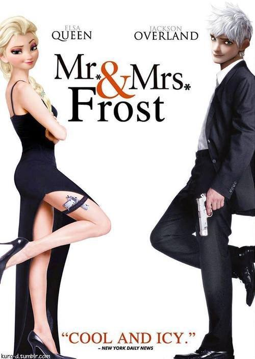 Mr. & Mrs. Frost.. . Inhis. I really want the sequel to Frozen to hook them up. Too bad Elsa is Disney and Jack is Dreamworks.
