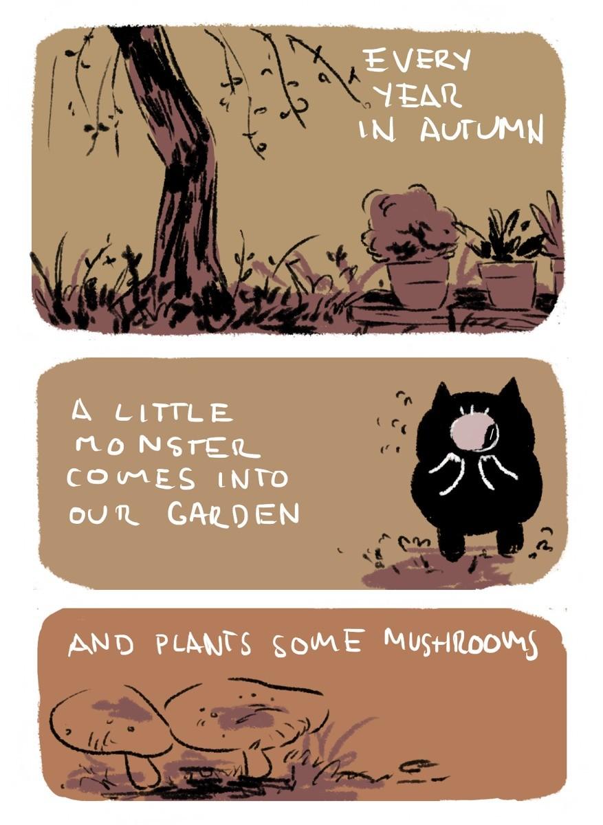 Mushroom monster. .. A tumblr user asked her little sister where mushrooms came from.
