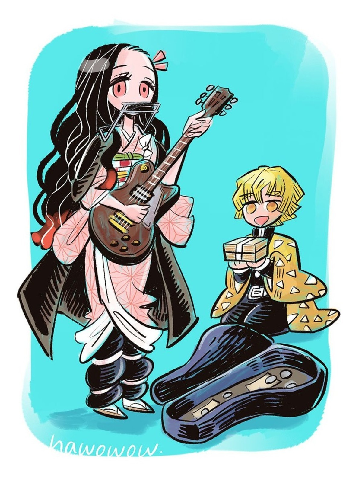 "Musician Nezuko. .. ""Mmmmm, hmmm Hmm Hm"" ""Anyways, here's Wonder Wall"""