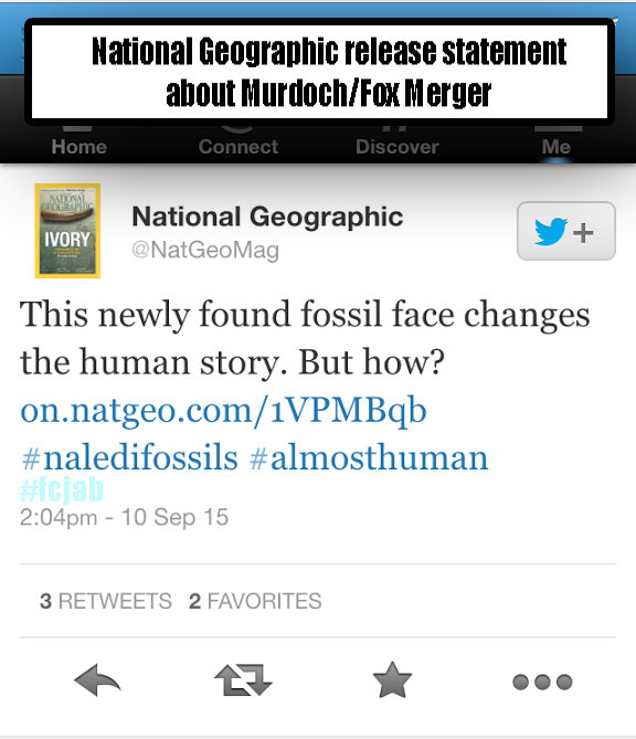 NatGeo release statement Re Murdoch. . that ! National Geographic . This newly found fossil face changes the human story. But how? 3 RETWEETS 2 FAVORITES MIT i