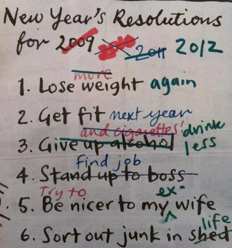 New years resolution. keeps changing.. I'm stealing this as it is funny and rings home to me.