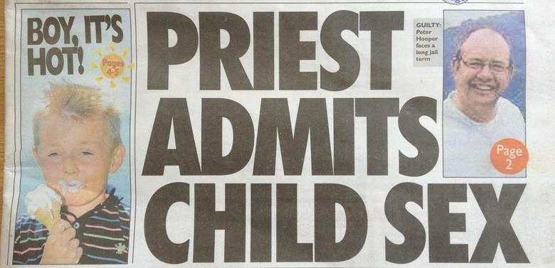 Newspaper Layout Fail. . t( SEX. And if he was a plumber instead of a priest then the outcome would have been sooo much different? I mean I'm all for no religion thing but this is ridiculous. H