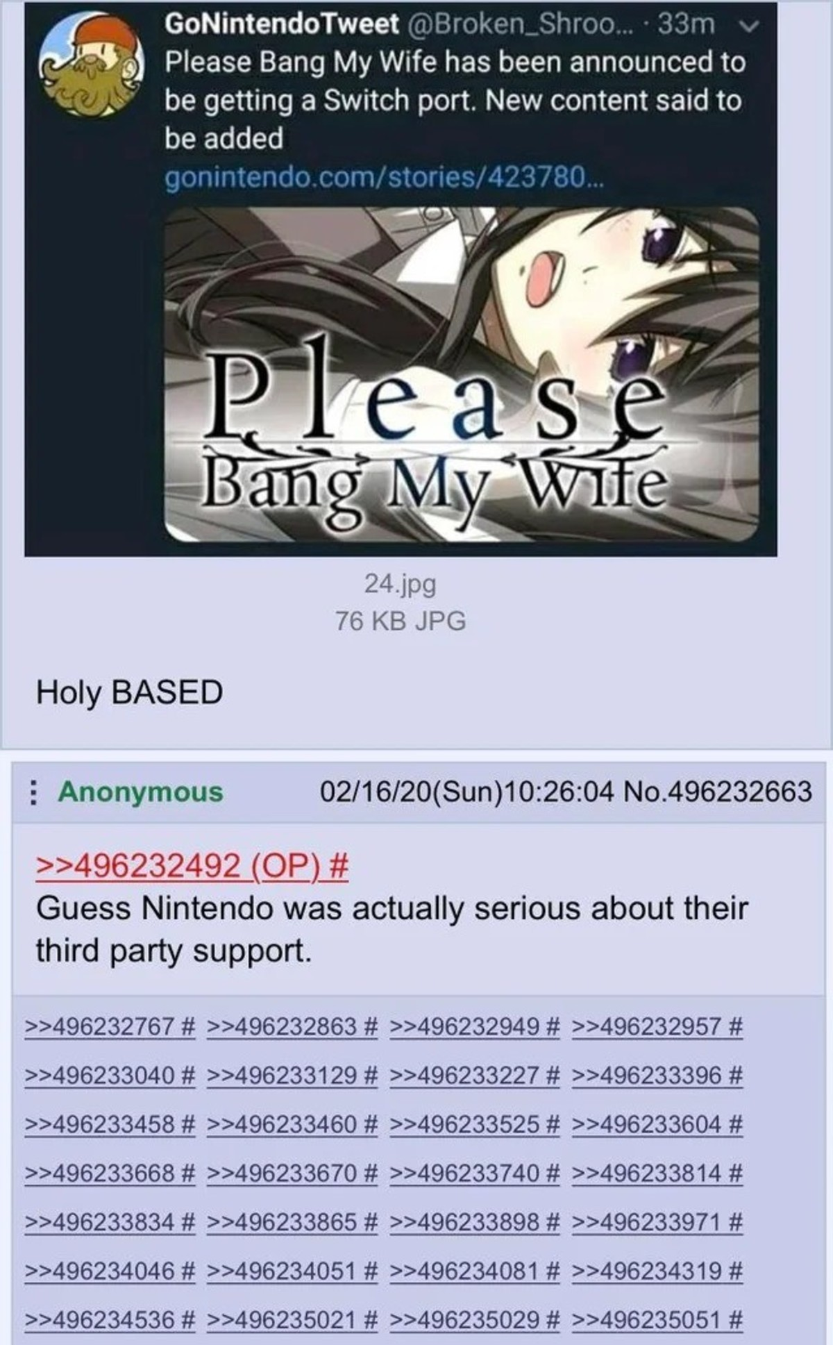 NinTendies. .. It's funny how the Nintendo Switch became the least censored console out of the 3. Meanwhile Sony is selling out to Cali.