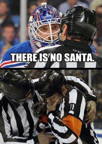 No santa. Found on bookface.. There is no hockey