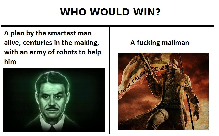 Not just any mailman. join list: VideoGameHumor (1701 subs)Mention Clicks: 608037Msgs Sent: 5985465Mention History. WHO WOULD WIN? A plan by the smartest man al