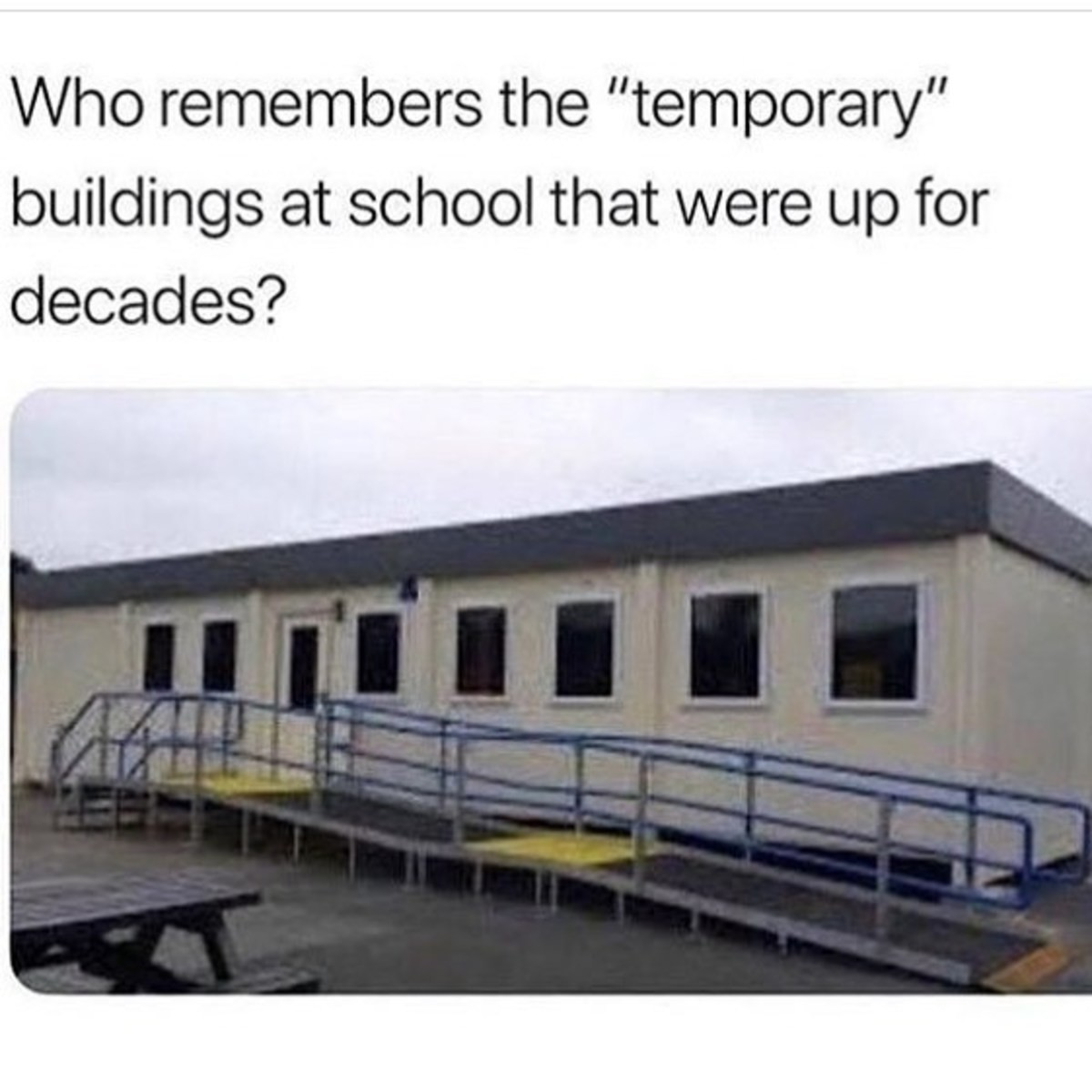 nothing is more permanent than a temporary solution. .. There was three shacks in the middle of a muddy field at my high school. They were for French, German, and geography. Kind of funny how they didn't even bother