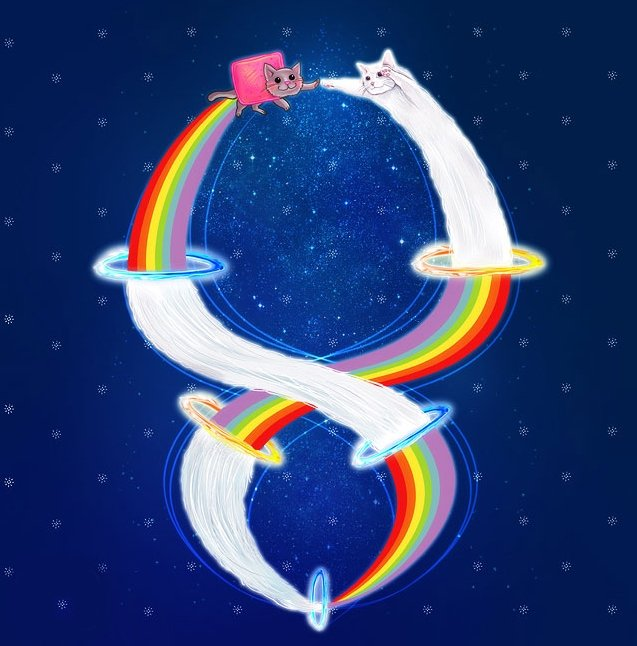 Nyan Cat And Long Cat Infinity. Not mine, but it is amazing. And I can assure you that it's not from the site that starts with 'red' and ends with 'dit'. Credit