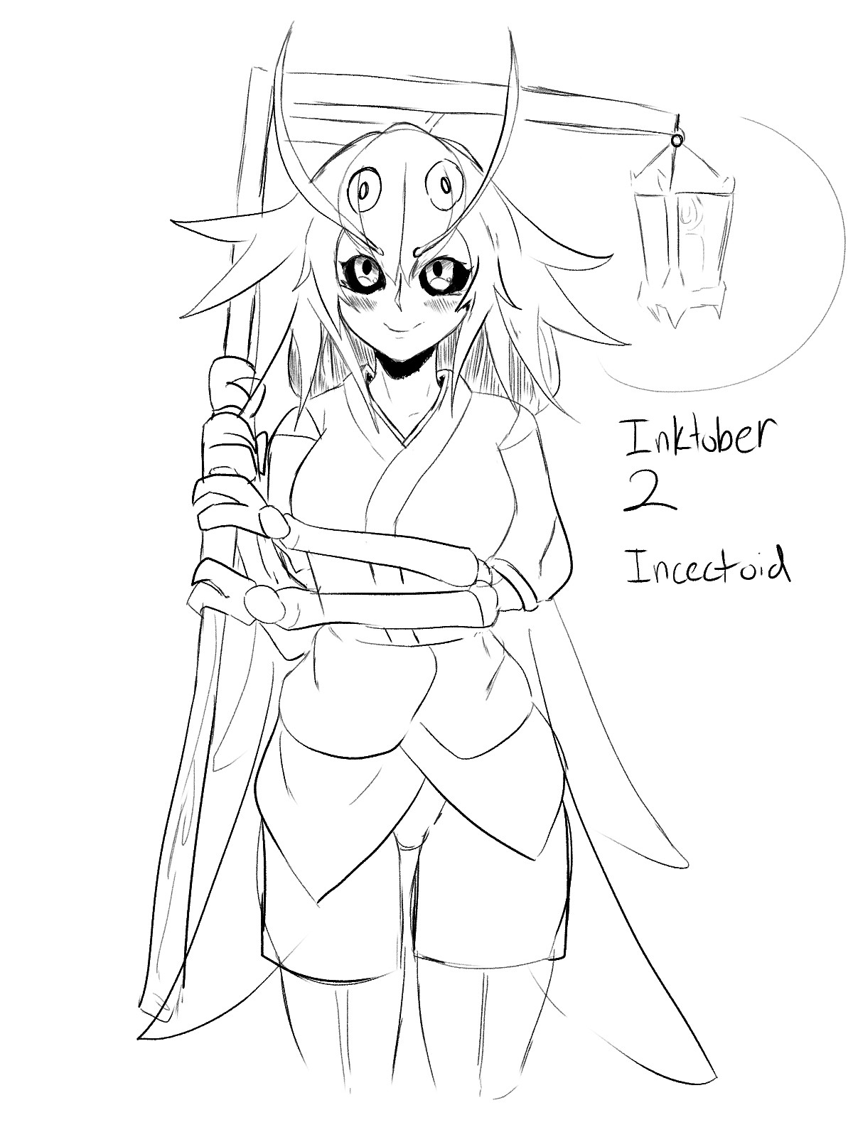 Inktober 2: Moth. join list: GBArt (261 subs)Mention History.. She looks sweet. I wish to pat her head under the lamp light