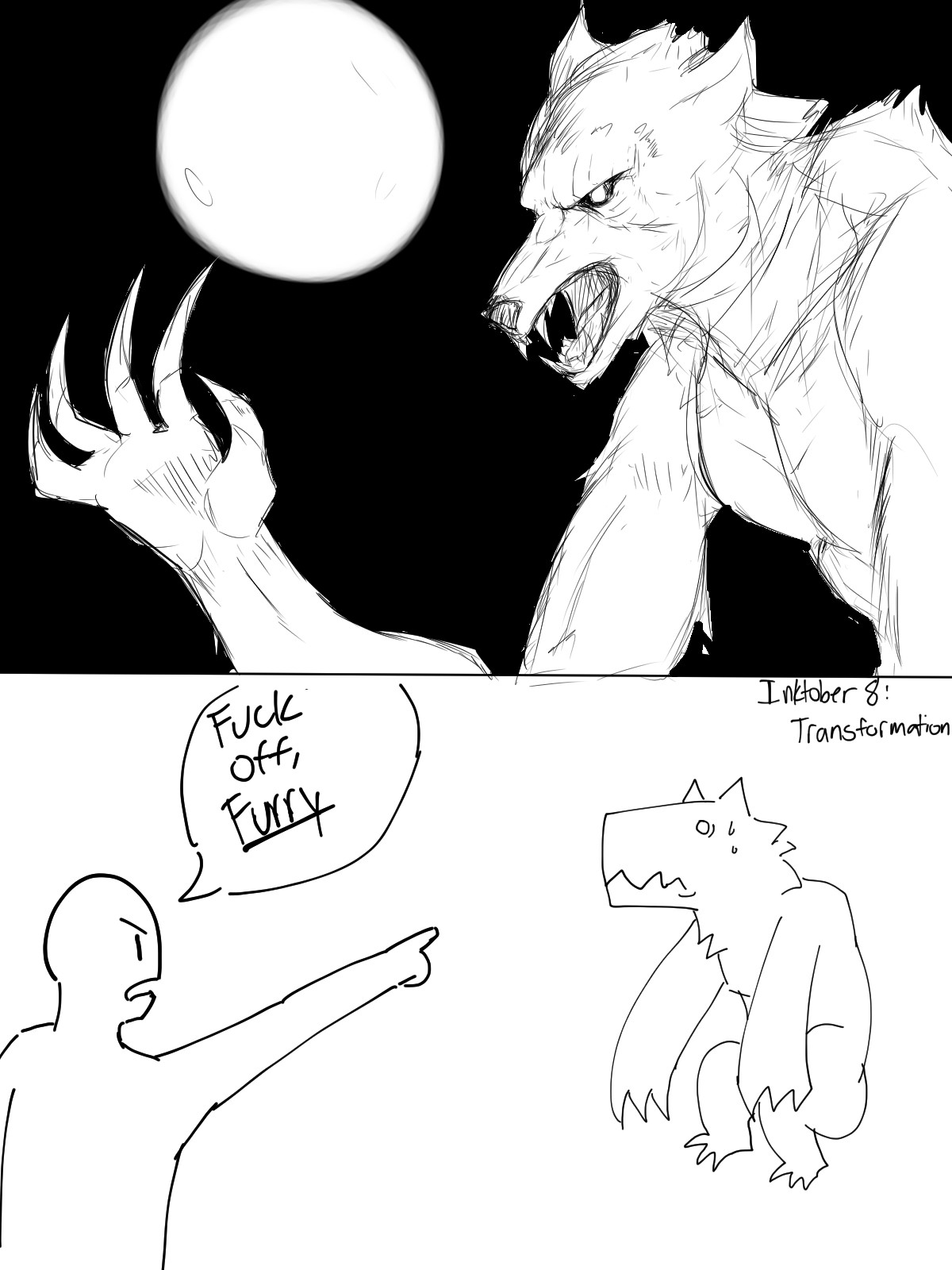 Inktober 8: Werewolves. join list: GBArt (261 subs)Mention History.. Furry get out