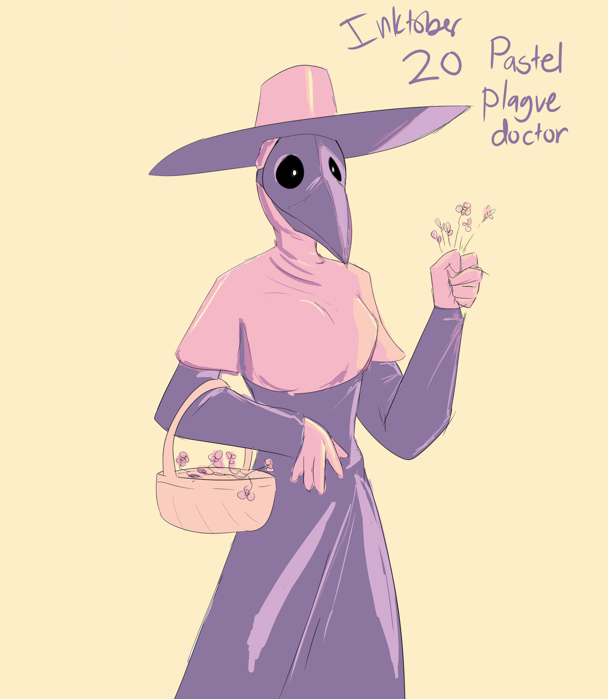 Inktober pastel plague doctor. join list: GBArt (261 subs)Mention History.. Fun Fact, plague doctors often stuffed their masks full of flowers because sick people smell awful, so seeing a plague doctor pick a of flowers would not be str