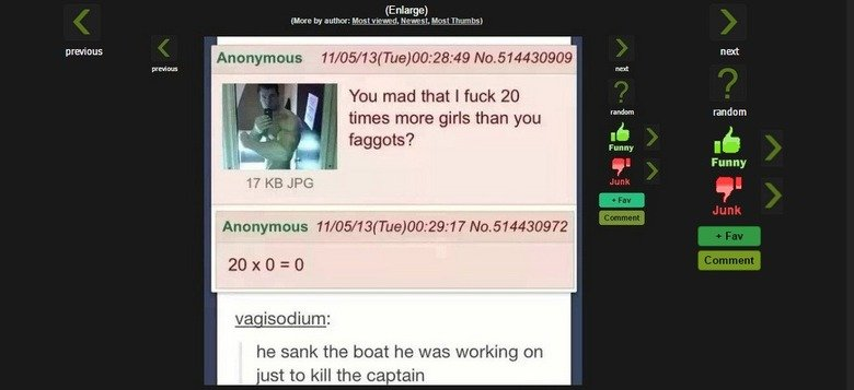 OC. not stolen. previous Enlarge) You mad that i took 20 times more girls than you faggots? Anonymous ' %' E If No. 51' 44 399 he sank the boat he was working o