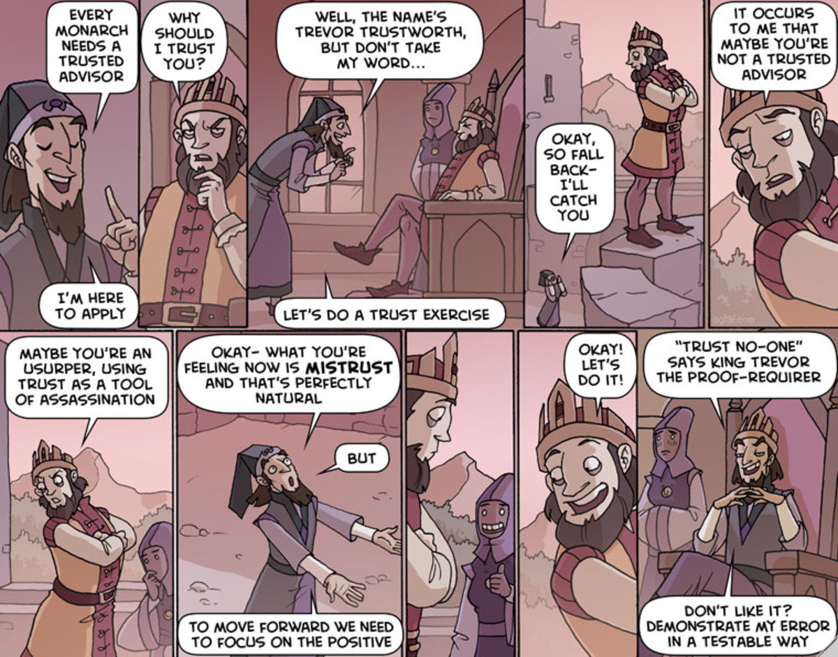 Oglaf / Got your back. join list: OglafComics (211 subs)Mention History.. this is a porn comic people don't blush for non lewd reasons why is trevors assistant blushing?