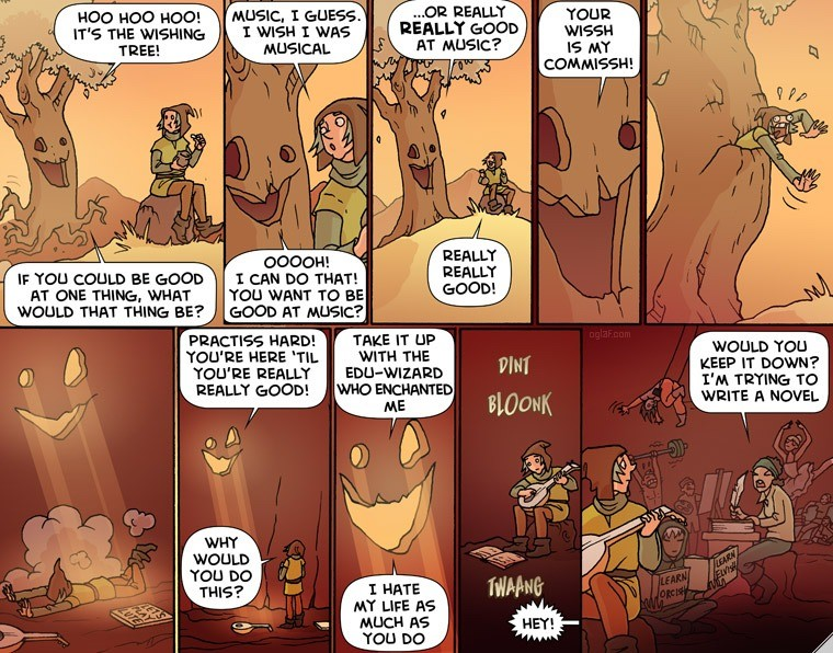 """Oglaf. .. """"If you could be good at one thing, what would that thing be?"""" """"Chopping down cursed trees."""""""