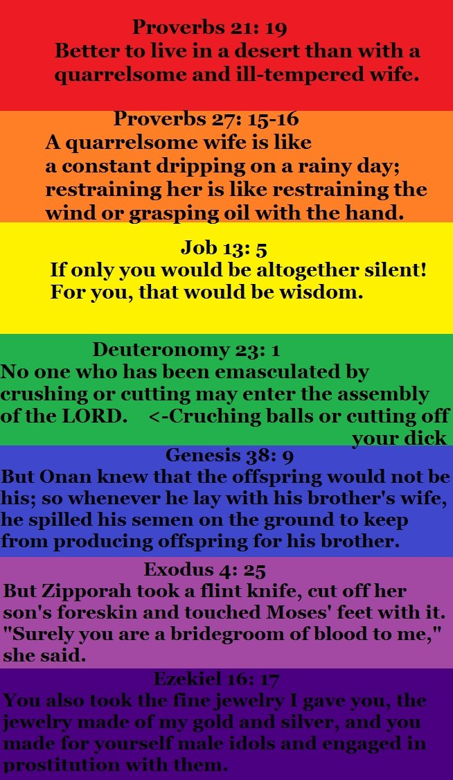 Oh bible, you so silly. . If {July fill] tellem' lml be lall, ) i silent! Flattr' ll , that be ttell! ftm' mll,. So you hate women and the background's a rainbow. you tryin to tell us something?