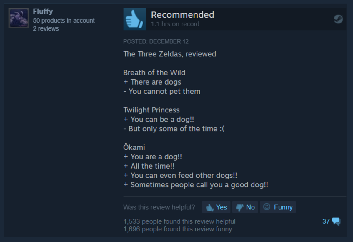 Okami HD in a nutshell. join list: VideoGameHumor (1701 subs)Mention Clicks: 608037Msgs Sent: 5985465Mention History. Fluffy 50 products in account 2 reviews A