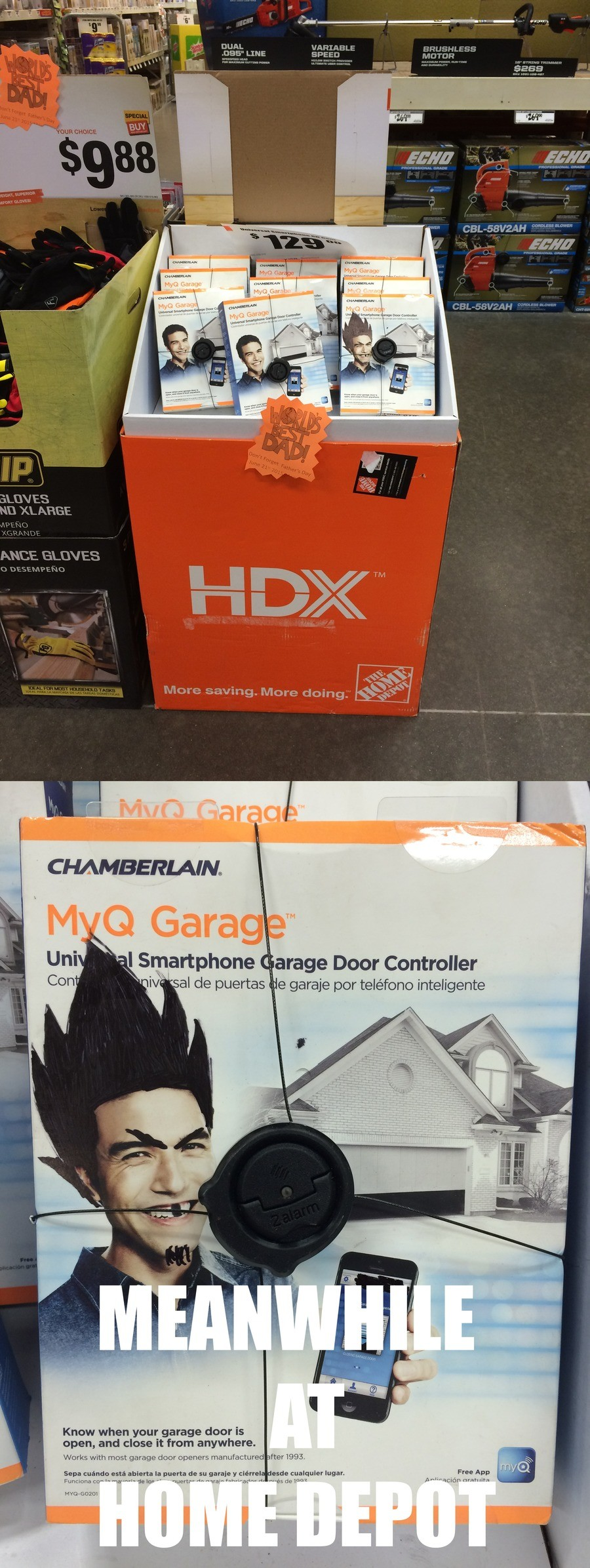 One of These is Not Like the Other. . DUAL LINE CHAMBERLAIN» m _ l, arige Door Controller Con lilt ole mates Kr?, garage pm Know when your garage door is open,