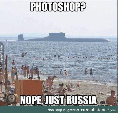 """Only in Russia. . laughter at . e.. """"This is nuclear submarine Sacred war, we'll keep an eye out for Red October near this sunny beach."""""""