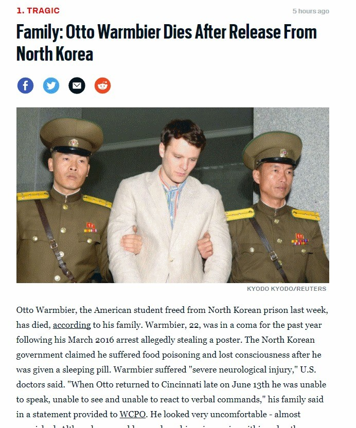 Otto Warmbier Dies a Week After Returning from NK. In March of last year, American tourist Otto Warmbier was detained by the North Korean government for theft.