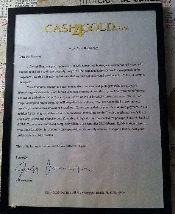 """Owned!. Not mine, found on internet. Enlarge to read better.. wwy. Alto sending h. - your rep tral btas / gold painted rare; thatyou """"'' 14 karat goint rungs: -"""