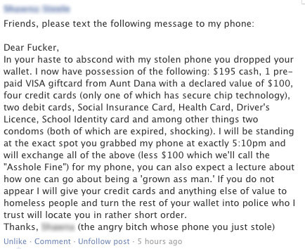 Owned. This is a win for the chick that got her phone stolen.. Friends, please text the following message to my phone: Dear Fucker, In your haste to abscond wit