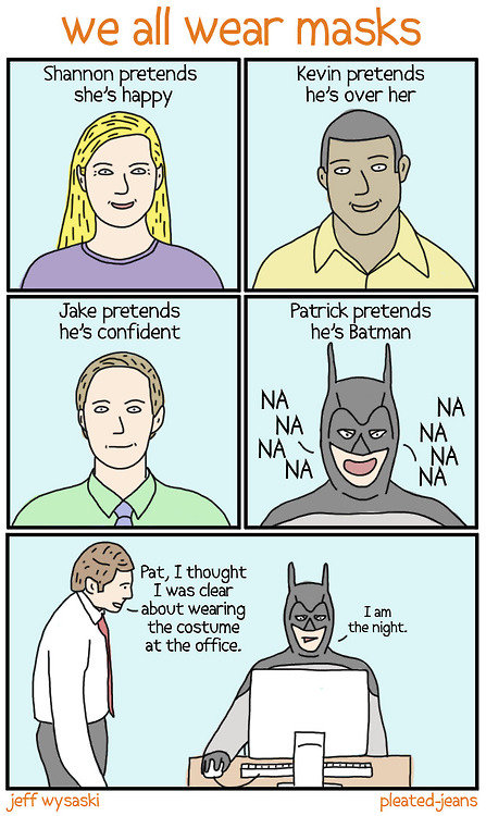 Patrick is the ht. ....Where's the stapler!!. Wt? all wear masks Shannon tends Kevin tends Patrick pretends hes Batman Pat, I thought I was dear u smut wearing.