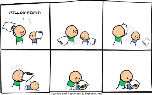 Pillow Fight!. .. And then Johnny pulled down tommy's pants.