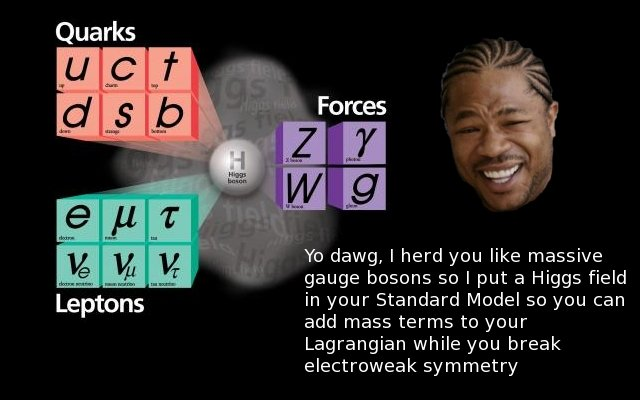 Pimp My Standard Model. Don't ask me. From b3ta.com. Yo dawg, I herd you like massive gauge bosons so I put a Higgs field in your Standard Model so you can add