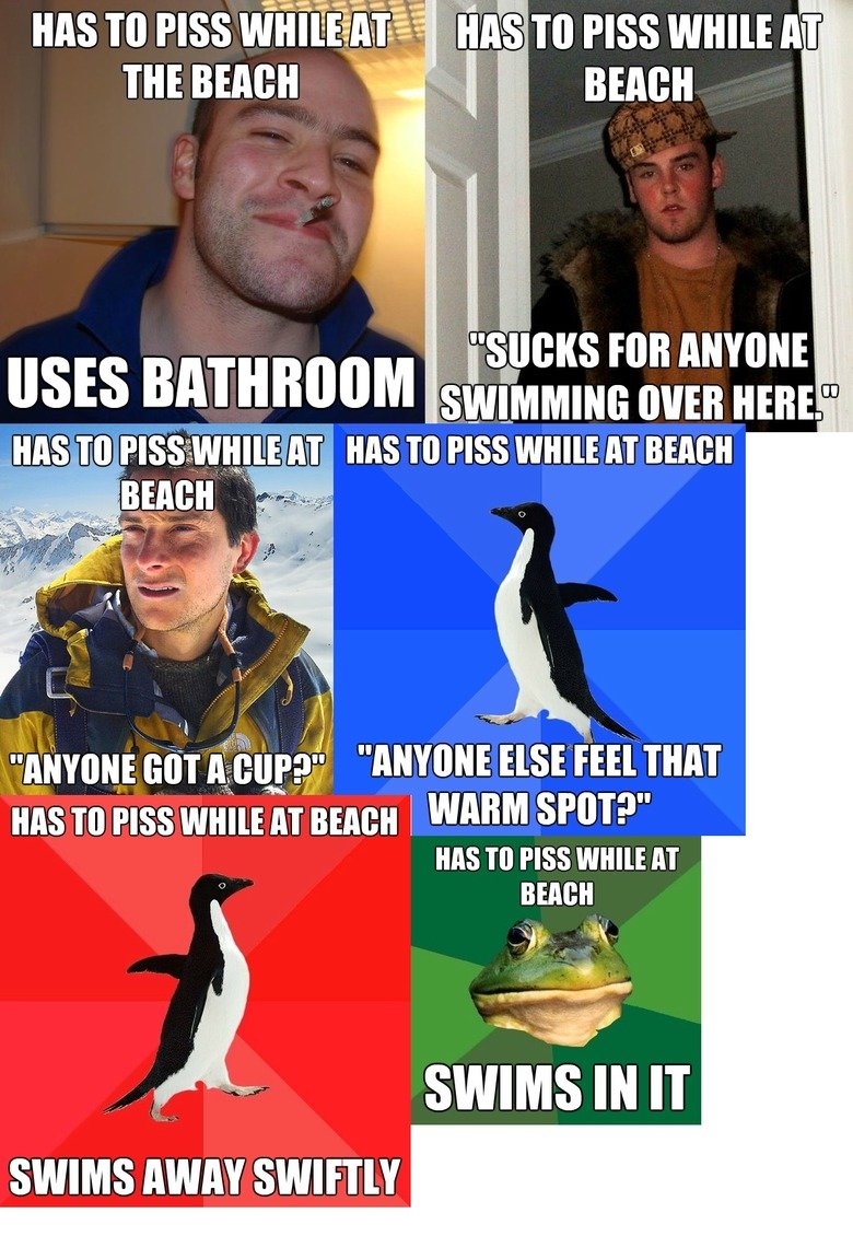 Pissing at the Beach. Made and compiled. Roughly 88.93% OC because I do not own these pictures. And my MS paint skills are clearly off the charts.. an TO PASSW