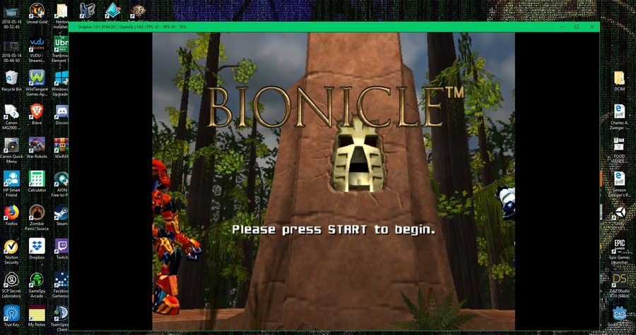 Playing Bionicle the Game for Gamecube on PC. I am glad that it works. I got the Dolphin 5.0 emulator and the rom at loveroms.com.. Have you ever played Bionicle Heroes? This was cash when I was younger.