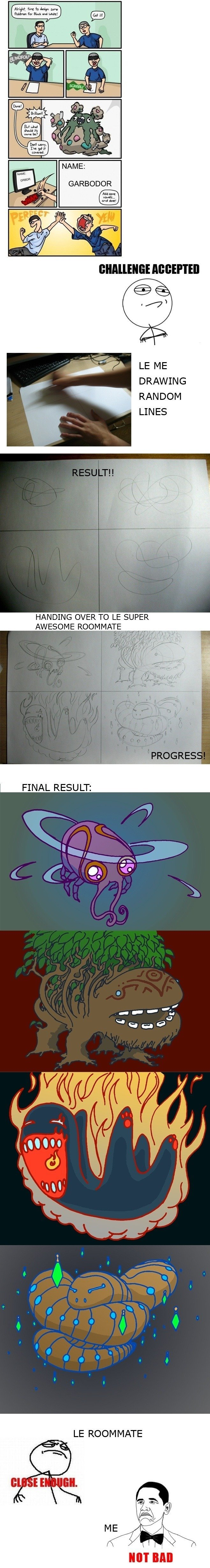 """Pokemon challenge accepted. . DRAWING RANDOM LINES HANDING OVER TO """" _P. AWESOME ROOMMATE FINAL RESULT: ROOMMATE. le,le,le,le Please no,"""