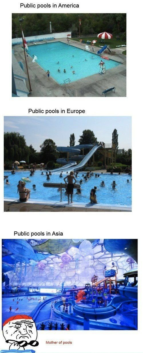 Pools. . Public pools in America Public poms in Asia Mather of pearls. actually