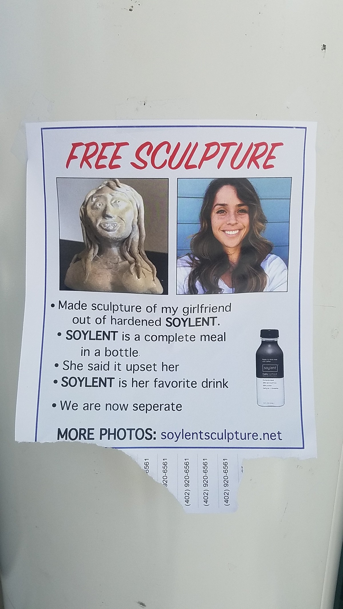 Poor Soyboy. Saw this on my way back to my dorm room about a week ago. It's pretty fake, but I appreciate dedication to a good joke. The guy also made a website