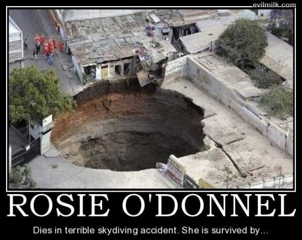 Poor Rosie. . Dies in terrible skydiving accident. She is survived by...